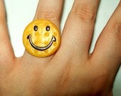 Cookie Biscuit Ring With Smiley Face Kawaii Kitsch Jewellery/Jewelry