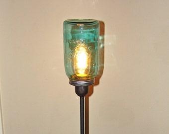 Vintage Blue Ball Mason Jar Table Lamp