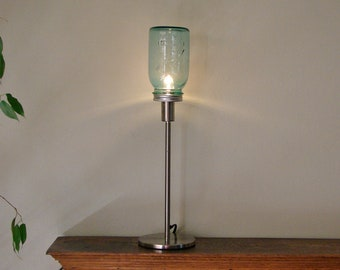Vintage Blue Mason Jar Table Lamp