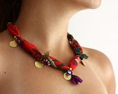 SALE - Ottoman Red Charm Attached Handmade Necklace Ready To Order