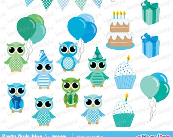 Party owls - Blue & green clip art set - Personal and commercial use - Instant download