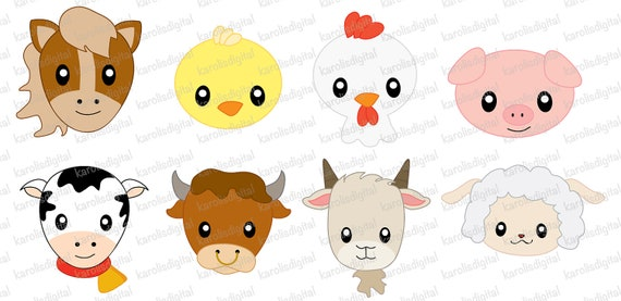 Farm animals faces clip art set