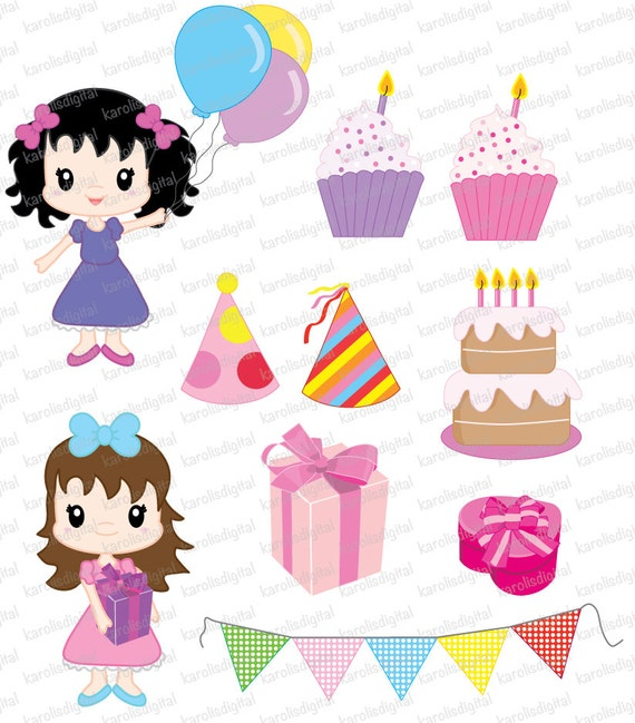 Birthday girl party digital clip art set by karolisdigital