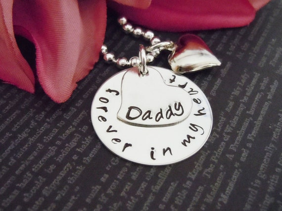 """Father Jewelry-Hand Stamped Jewelry-Personalized Necklace-Mommy Necklace-Childrens Necklace- """"Forever In My Heart Daddy""""-Dad Gift"""