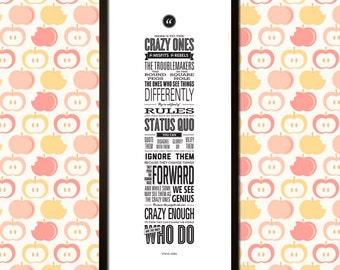 Apple's Here's to the Crazy Ones Framed Canvas Print (12 x 30 inch)
