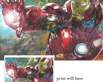 Full Color Drawing Print of Iron Man from Avengers