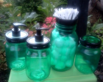 BATHROOM SET - Cotton - Q-Tip - Soap Dispensers - Toothbrush - Mason Jars - Green