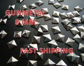 40 Pcs - 8MM DIY Pyramid Flat Back Studs - Save 15% Use  Coupon Code: 28994 - Iron On Studs - GUNMETAL - Great for All Projects - Fast Ship