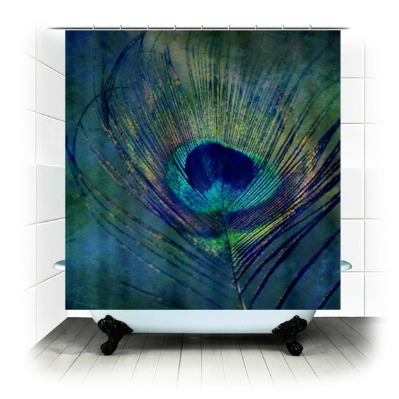 Plume Peacock Feather Fabric Shower Curtain
