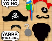 DIY Pirate Photo Booth Props - Moustaches, Beards, Hats, Speech Bubbles - Printable, Digital, Photobooth