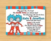 Thing 1 and Thing 2 Twins Baby Shower Invitation - Printable - 5 x 7 Dr Seuss Cat in the Hat