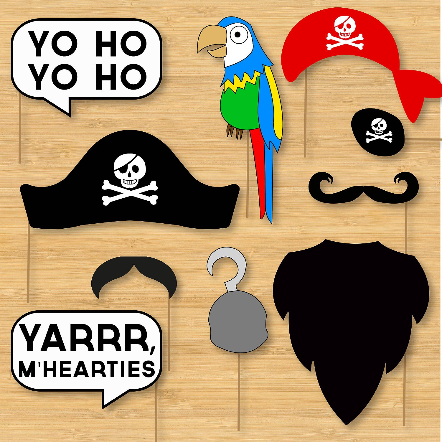 DIY Pirate Photo Booth Props Moustaches Beards Hats