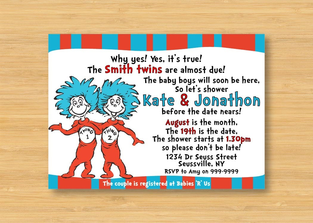 thing 1 and thing 2 twins baby shower invitation printable
