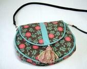 turquoise and pink hobo handbag, expandable handbag, floral cotton handbag, cross body bag with piping, tassel and magnetic snap