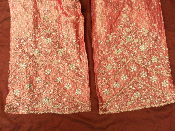 Vintage Indian silk all lined eastern trousers beaded jeweled & sequined size uk14