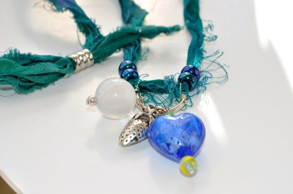 Silk Sari Ribbon Necklace- dangles Necklace-adjustable necklace