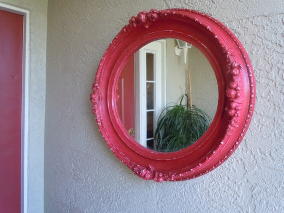 Syroco inspired large oval mirror in CeCe Caldwell's Traverse City Cherry chalk paint