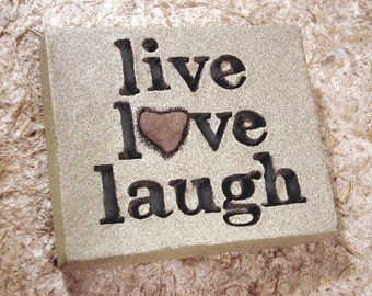 """Love Rocks """"live love laugh"""" Plaque with Natural Found Heart Shaped Rock - Word Wall Stone Art Sign Home Decor Affirmation"""