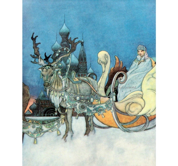 Russian Princess Fabric - Snow Queen Reindeer Sleigh - Cotton Block