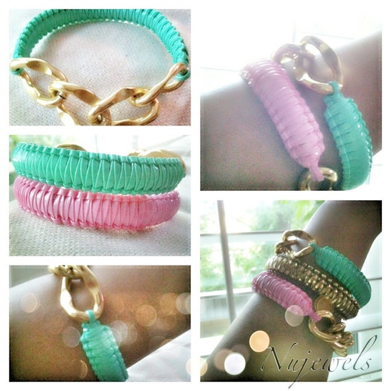 Mint, Pink with Gold Chain- The Marie Antoinette Collection