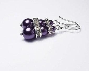 Bridesmaid Purple Jewelry, Deep Purple Pearls and Crystal Bridesmaid earrings, Purple Bridesmaid Jewelry, Bridal Party GiftО
