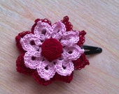 Cerise and pink double crochet flower. Brooch, bobby pin and headband hair accessories. Boho and Casual Style.