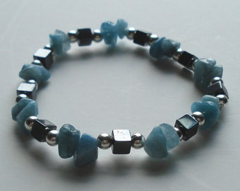 Quartzite and Hematite Beaded Stretch Bracelet