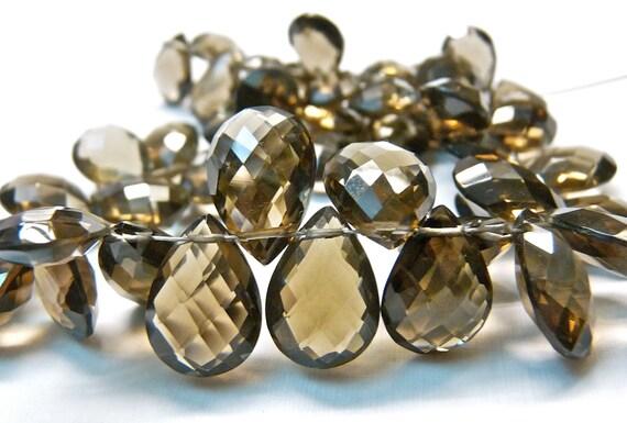 AAA Smoky quartz gemstone briolette- checkerboard faceted smoky quartz pear briolettes- 2 matched pairs/ set of 4 Pcs- 12 mm Item No. 113
