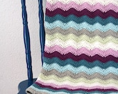 Crochet baby blanket: eco friendly, bio cotton, chevron stripes, blue green white purple