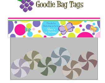 Butterfly Treat Bag Tag - Pink and Purple Damask and Polka Dot Butterflies Birthday Party Double Sided Goodie Bag Label - Digital Printable