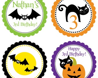 Halloween Party Circles - Green Orange Purple, Halloween Black Bats and Cats Personalized Birthday Party Circles - A Digital Printable File