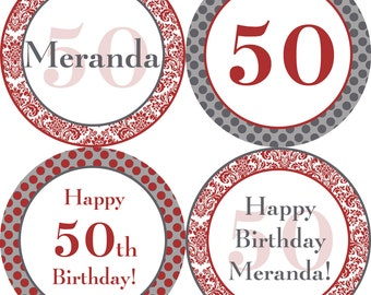 Damask Party Circles - Black, Gray and Red Damask and Polka Dot Personalized Birthday Party Circles - A Digital Printable File