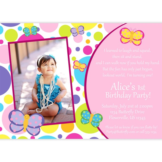 Butterfly Photo Invitation - Pink and Purple Polka Dots Butterflies Personalized Picture Birthday Party Invite - a Digital Printable File