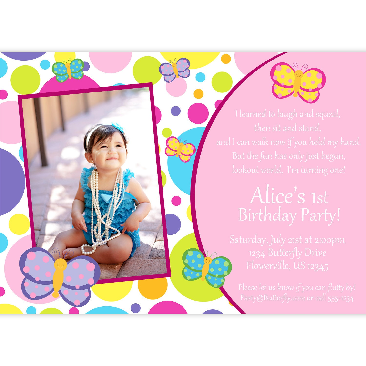 Butterfly Photo Invitation Pink and Purple Polka Dots