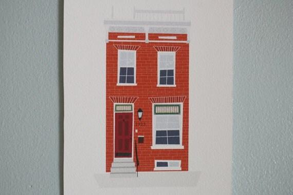 """RESERVED FOR JEN Custom Row House Illustration 5""""x7"""""""