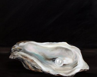 PRINT Oyster Art Oil Painting Sea Food Ocean Water Pearl / Mary Sparrow Smith