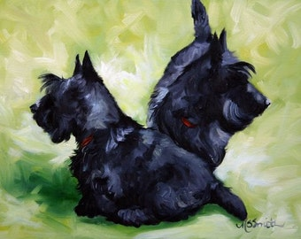 PRINT Black Scottish Terrier Scottie Dog Puppy Art Oil Painting / Mary Sparrow Smith