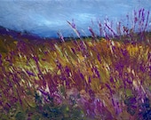Wild Hedgerow/Fields. Original Textured Landscape Painting On Canvas Board.