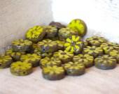 Czech Glass Flat Coin Beads - 13mm 10 Pieces - Opaque Green Picasso