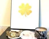 Art Print Framed 24K Gold Four Leaf Clover Fine Art Original Painting by Jennifer Latimer