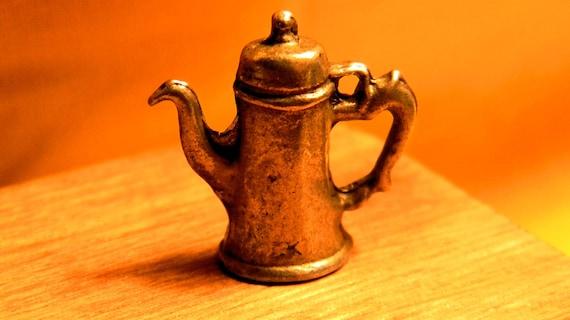 Miniature Coffee Pot  - Fancy Black Handle Silver Coffee Pot - Dollhouse 1 12th Scale - CP4