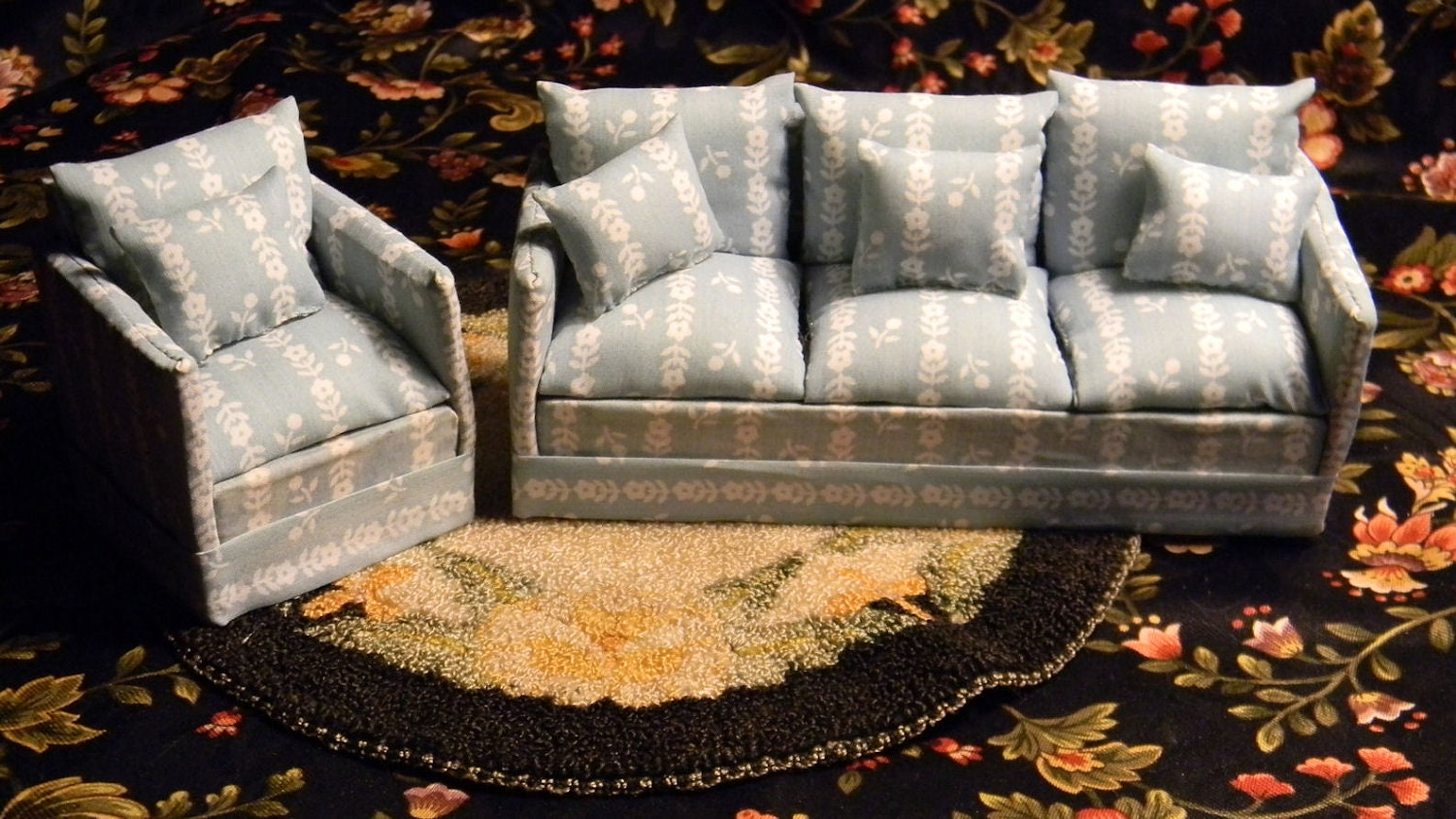 Doll House Sofa Chair Blue Floral Pattern By Louisianaminis