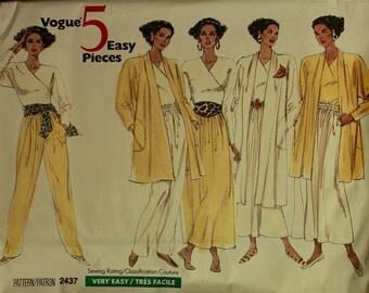 """1990s Top, Jacket, Pants & Skirt  Vogue 5 Easy Pieces Pattern 2437   Uncut   Size 8-10-12  Bust 31.5 - 32.5 - 34"""""""