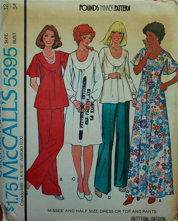 """1970s Maxi, Dress, Top & Bell Bottom Pants- A Pounds Thinner Pattern  McCall's 5395 Uncut  Size 12  Bust  34"""""""