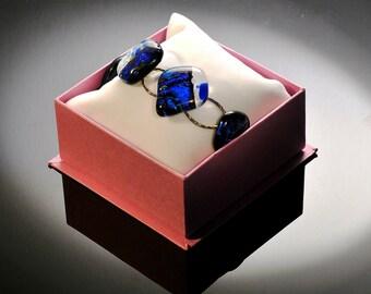 Denim Blue Dichroic Glass Bracelet