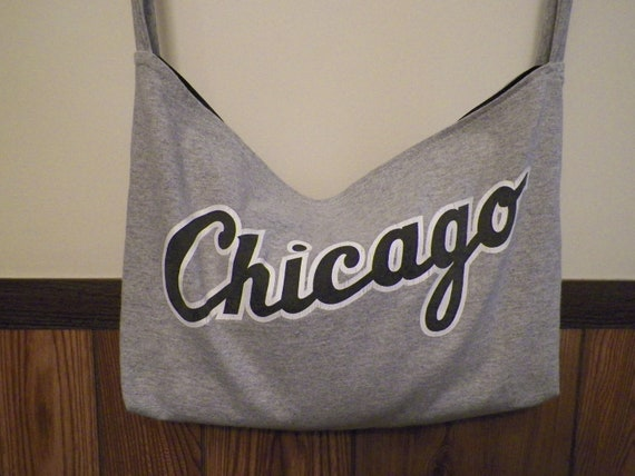 Chicago White Sox, 2 sided,  Recycled T shirt Tote Bag/ Purse, OOAK