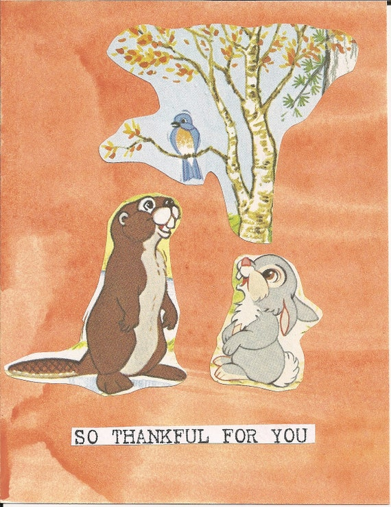 Thanksgiving orange thinking of you River Spring card handmade, handpainted background, vintage style, beaver, bluebird, rabbit