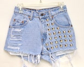 High-waisted Studded Shorts SMALL