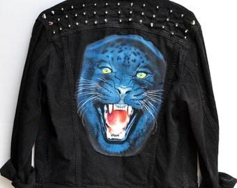 SALE Eye of the Panther Black Studded Vintage Levis Jean Jacket