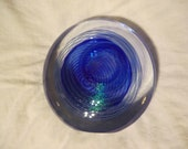 Vintage Blue Eickholt Signed Glass Paperweight From 1987